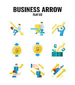 Flat icon set of business and arrows concept. icons set3