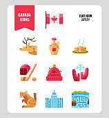 Canada icon set 1. Include Canada flag, Maple syrup, niagara fall, hockey, animal and more. Flat icons Design. vector
