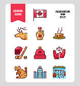 Canada icon set 1. Include Canada flag, Maple syrup, niagara fall, hockey, animal and more.