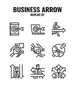 Outline icon set of business and arrows concept. icons set1