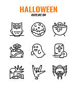 Outline icon set of halloween. icons set4