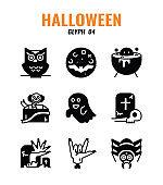 Glyph icon set of halloween. icons set4