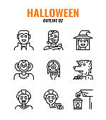 Outline icon set of halloween. icons set2