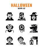 Glyph icon set of halloween. icons set2
