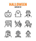 Outline icon set of halloween. icons set1