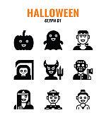 Glyph icon set of halloween. icons set1
