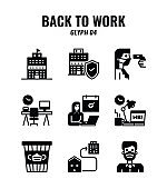 Glyph icon set of back to work and social distancing concept. icons set4