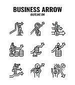 Outline icon set of business and arrows concept. icons set4