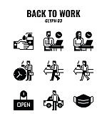 Glyph icon set of back to work and social distancing concept. icons set3