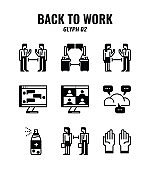 Glyph icon set of back to work and social distancing concept. icons set2