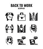 Glyph icon set of back to work and social distancing concept. icons set1