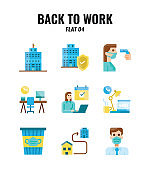 Flat icon set of back to work and social distancing concept. icons set4Flat icon set of back to work and social distancing concept. icons set4