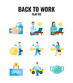 Flat icon set of back to work and social distancing concept. icons set3