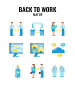 Flat icon set of back to work and social distancing concept. icons set2