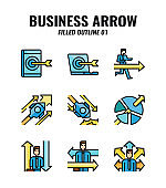 Filled outline icon set of business and arrows concept. icons set1