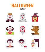 Flat icon set of halloween. icons set2