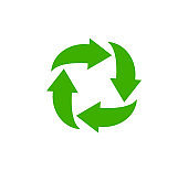 Recycle icon, garbage sorting symbol, waste recycling sign, green arrows, environmental vector isolated illustration