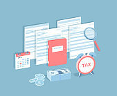 Payment of accounts and taxes. Filling and calculating tax form. Folder with documents, invoices, calendar with tax date, money, magnifying glass, clock. Isometric 3d vector illustration.
