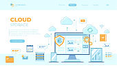 Cloud Storage. Online cloud computing, network hosting, services. Computer, phone, tablet, server, personal information, clouds. Can use for web banner, landing page, web template. Vector illustration