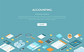 Accounting concept. Financial analysis, planning, analytics, statistics, data analysis, research. Office supplies, documents, tablet, phone, calendar, calculator, report, coffee. Isometric 3d vector