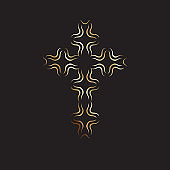 Christian symbol, gold modern cross icon on black background. Church logo template. Isolated vector illustration.
