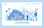 Cloud computing and system resources, data storage, hosting, connection. 3d servers in a big cloud. Users work with a cloud service platform. landing web page design template decorated with people