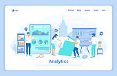 Analytics, analysis, analyzing, data processing, success strategy. A team of specialists analyzes documents, graphics, charts. landing web page design template decorated with people characters.