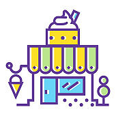 Shop building color line icon