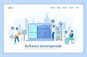 Software Application Development and Programming. Programmers team working with program code on the computer. landing web page design template decorated with people characters.