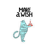 Cat with birthday cake. Hand drawn lettering - Make a wish