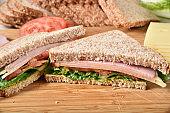 A fresh homemade ham and cheese sandwich