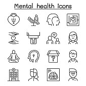 Mental health & psychology icon set in thin line style