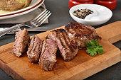 Sliced sirloin steak on a cutting board