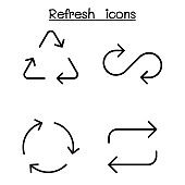 Refresh icon set in thin line style