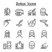 Botox , Anti aging icon set in thin line style