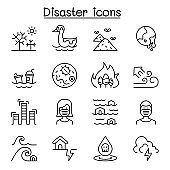 Disaster, pollution icon set in thin line style