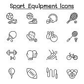 Sport equipment icons set in thin line style
