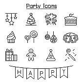 Party, celebration, new year, birthday icon set in thin line style