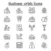 Economic recession, business crisis, trade war icon set in thin line style