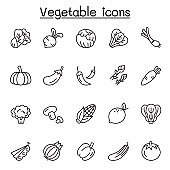 Vegetable icons set in thin line style