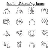 Social distancing icons set in thin line style