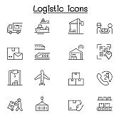 Logistic & Delivery service icon set in thin line style