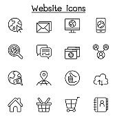 Internet, browser, website icon set in thin line style