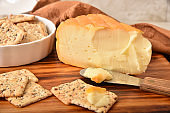 A wedge of gourmet autumn cheese