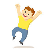 Happy boy jump for joy, cartoon character. Flat vector illustration, isolated on white background.