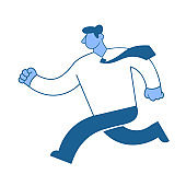 Running businessman. Hurrying the man in a business shirt. Character in flat style, vector illustration isolated on white background.