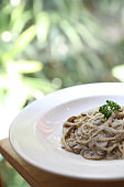 Spaghetti with Truffle Cream Sauce Italian food
