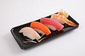 Sushi set , Japanese food sushi salmon tuna shrimp  and sea bass isolated in white background