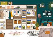 Stylish Scandinavian bedroom interior - bed, sofa, wardrobe, mirror, night stand, plant, lamp, home decorations.
