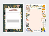 Trendy scheduler or organizer. Flat vector